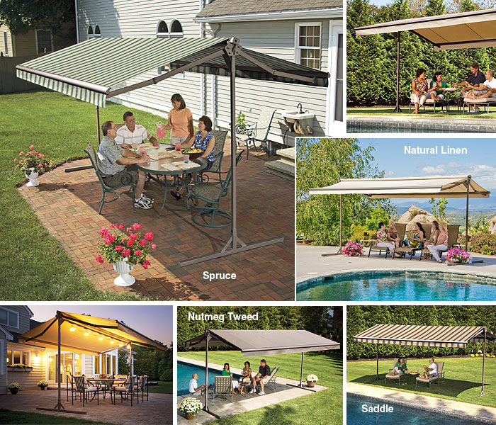 SunSetter Awnins. OASIS free standing shade cover. Canopy for outdoors shade